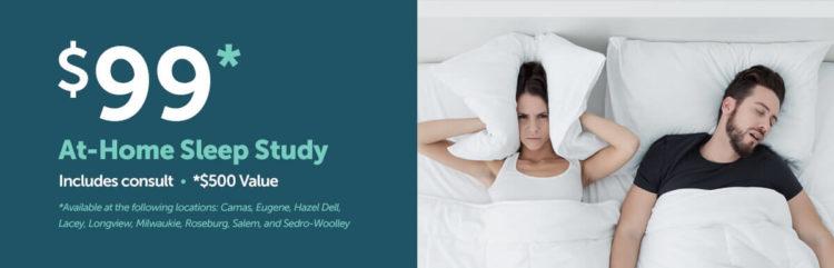 Clickable image advertising a $99 Groupon for a take-home sleep study for sleep apnea