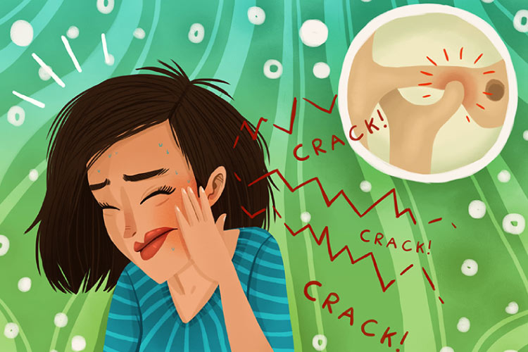 Cartoon girl suffering from TMJ pain