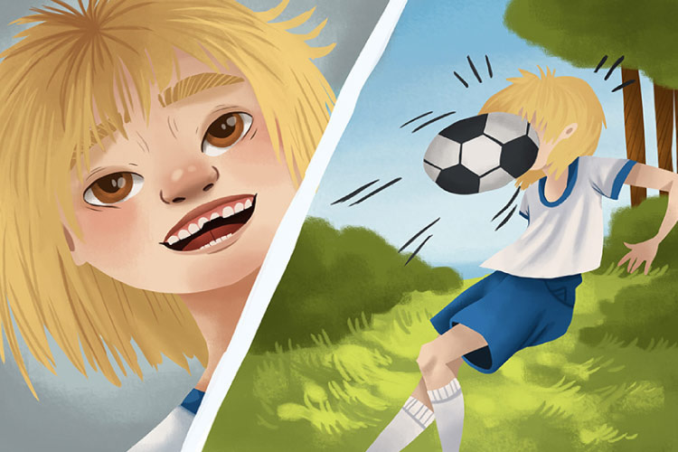 Split cartoon frame with a cartoon boy getting hit in the face with a soccer ball then smiling with a chipped tooth