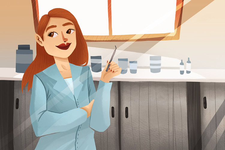 Smiling cartoon female dentist standing in the office holding a dental tool