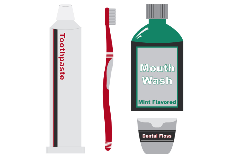Graphic of toothpaste, toothbrush, floss & mouthwash for DIY at-home oral hygiene