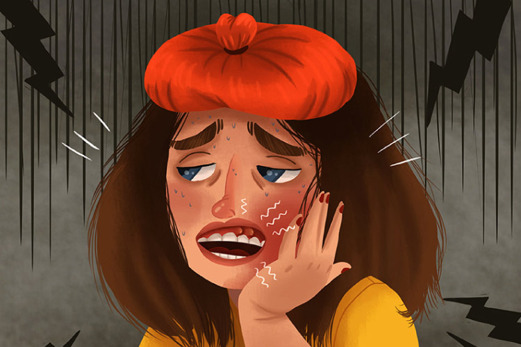 Cartoon girl with a toothache