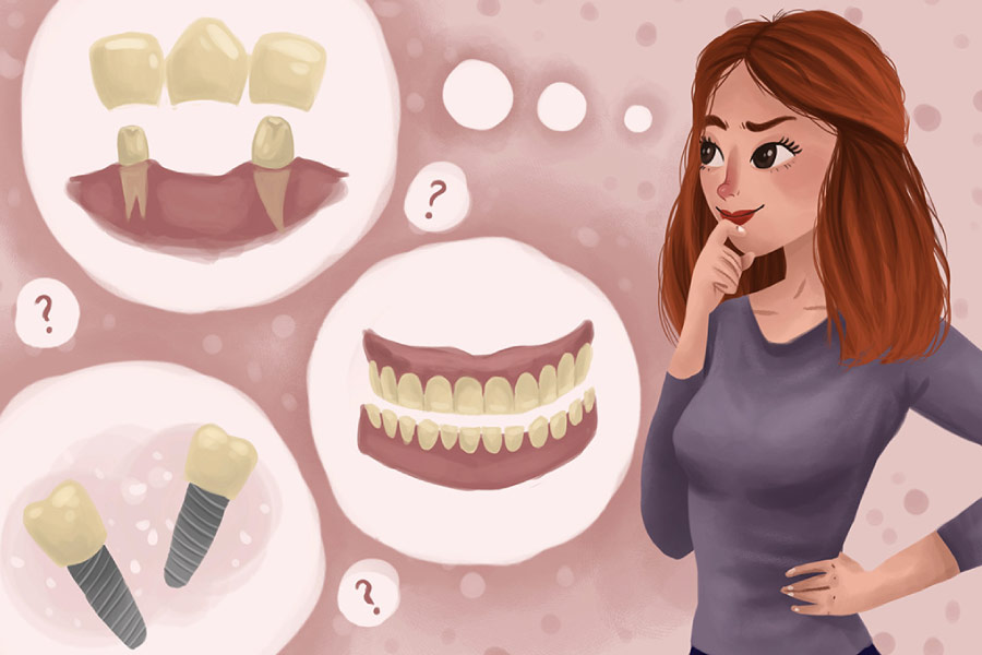 Cartoon with thought bubbles showing a woman thinking about a dental bridge or a dental crown