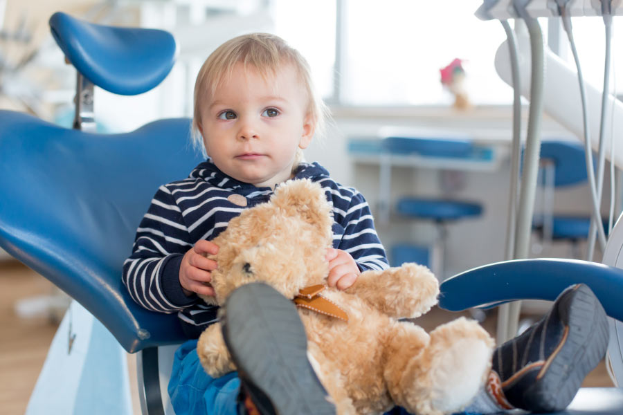 Blonde toddler boy in the dental chair with his teddy bear for his first dental visit.